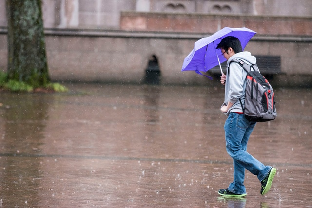 student carrying umbrella